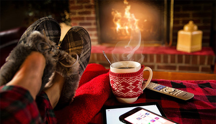 Winter home with fireplace and coffee
