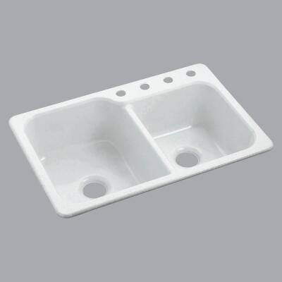 Sterling Double 33 In. x 22 In. White Composite Kitchen Sink